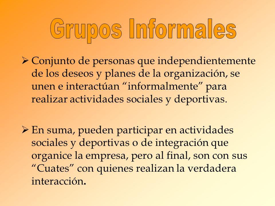 Conjunto de personas que independientemente de los deseos y planes de la organización, se unen e interactúan informalmente para realizar actividades s