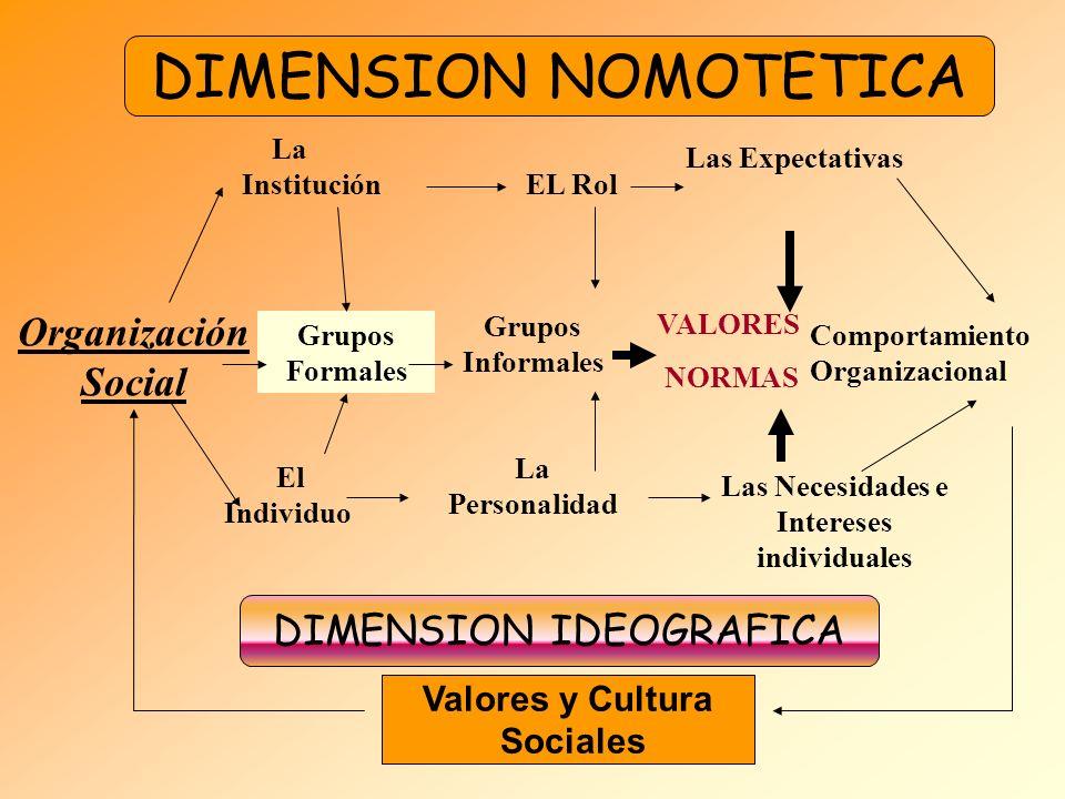 Organización Social La Institución EL Rol Las Expectativas El Individuo La Personalidad Las Necesidades e Intereses individuales DIMENSION NOMOTETICA