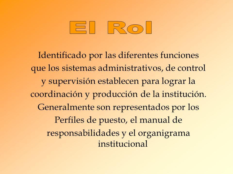 Identificado por las diferentes funciones que los sistemas administrativos, de control y supervisión establecen para lograr la coordinación y producción de la institución.