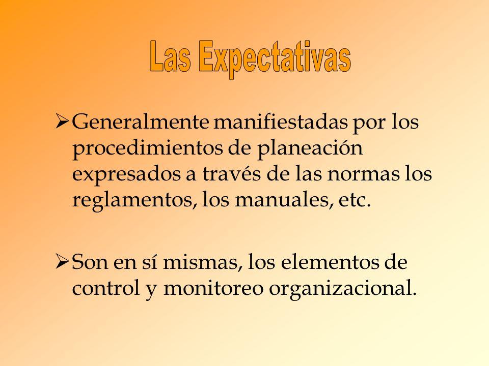 Generalmente manifiestadas por los procedimientos de planeación expresados a través de las normas los reglamentos, los manuales, etc.