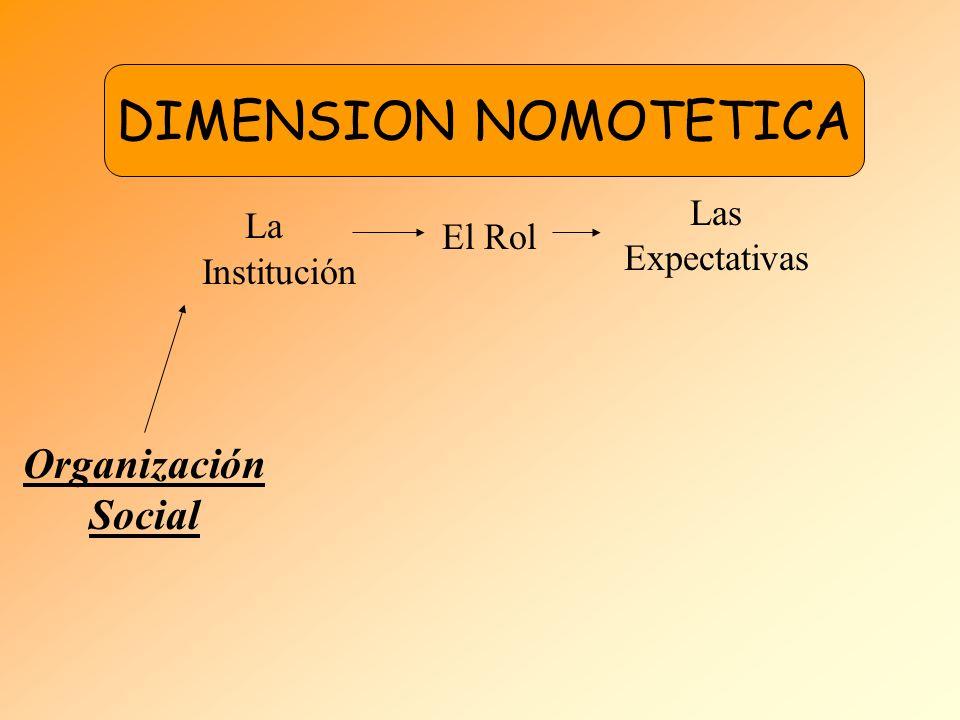 DIMENSION NOMOTETICA Organización Social La Institución El Rol Las Expectativas EL INDIVIDUO