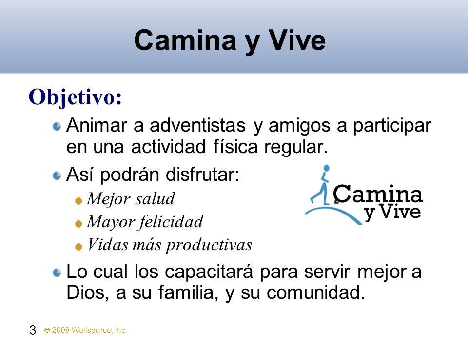 3 2008 Wellsource, Inc. Camina y Vive Objetivo: Animar a adventistas y amigos a participar en una actividad física regular. Así podrán disfrutar: Mejo