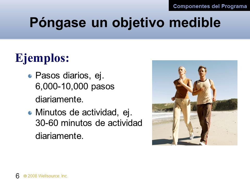 6 2008 Wellsource, Inc. Póngase un objetivo medible Ejemplos: Pasos diarios, ej. 6,000-10,000 pasos diariamente. Minutos de actividad, ej. 30-60 minut