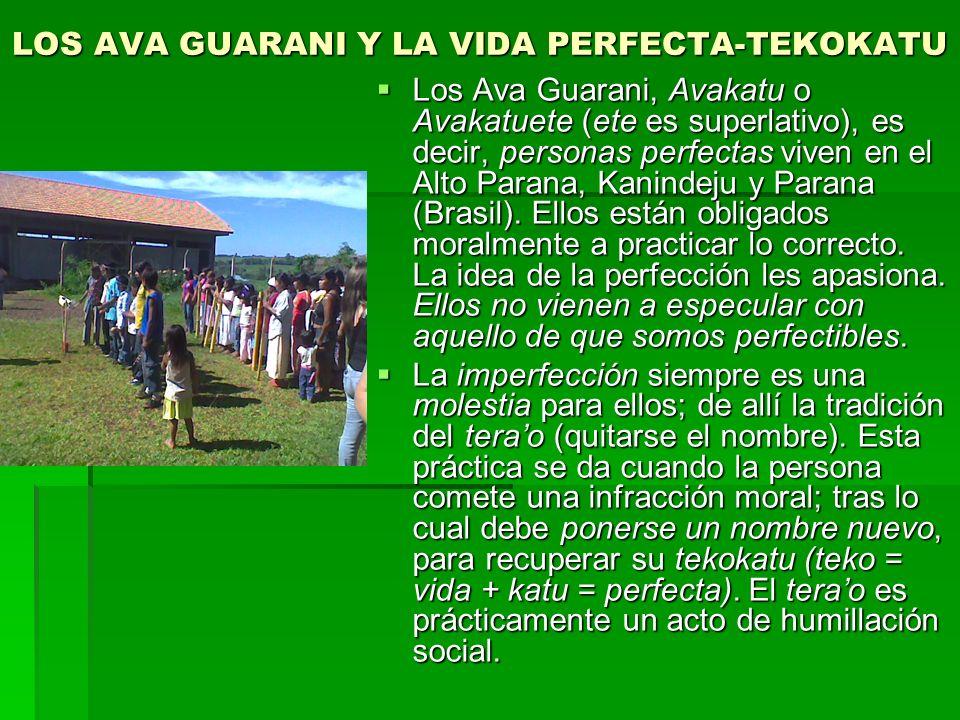 LOS AVA GUARANI Y LA VIDA PERFECTA-TEKOKATU Los Ava Guarani, Avakatu o Avakatuete (ete es superlativo), es decir, personas perfectas viven en el Alto Parana, Kanindeju y Parana (Brasil).