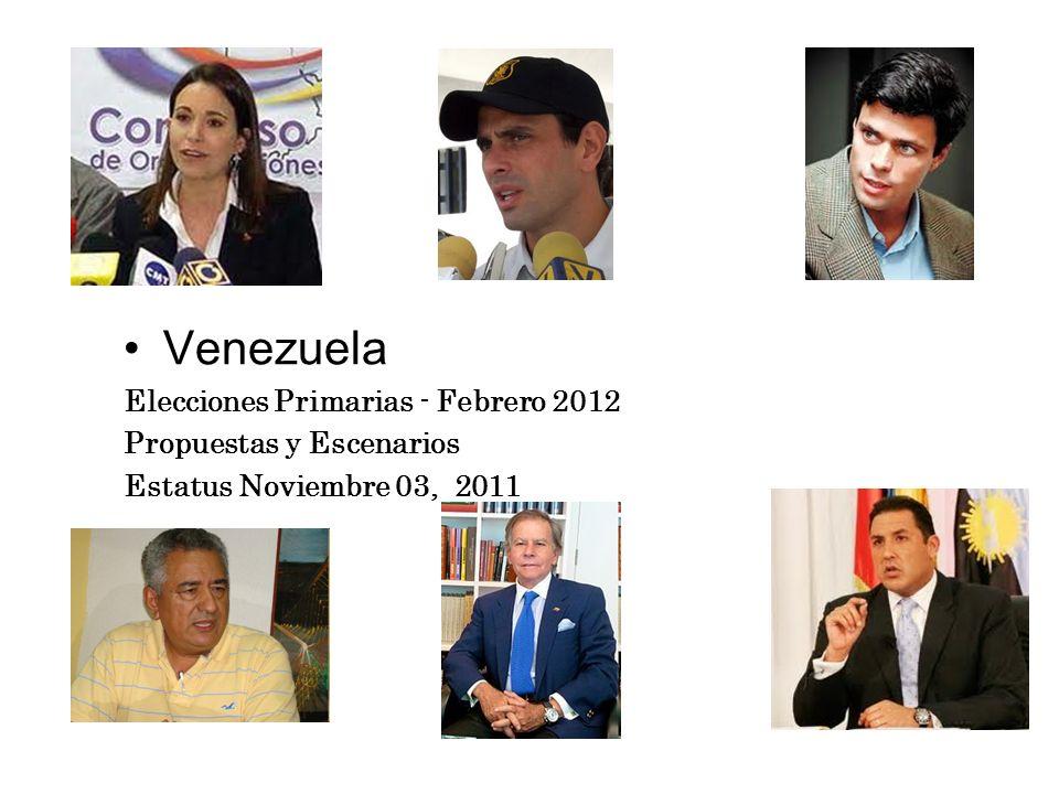 Venezuela Elecciones Primarias - Febrero 2012 Propuestas y Escenarios Estatus Noviembre 03, 2011