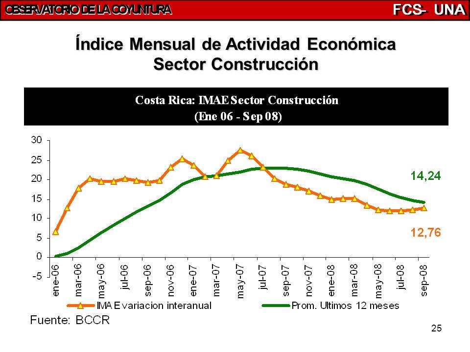 25 Índice Mensual de Actividad Económica Sector Construcción