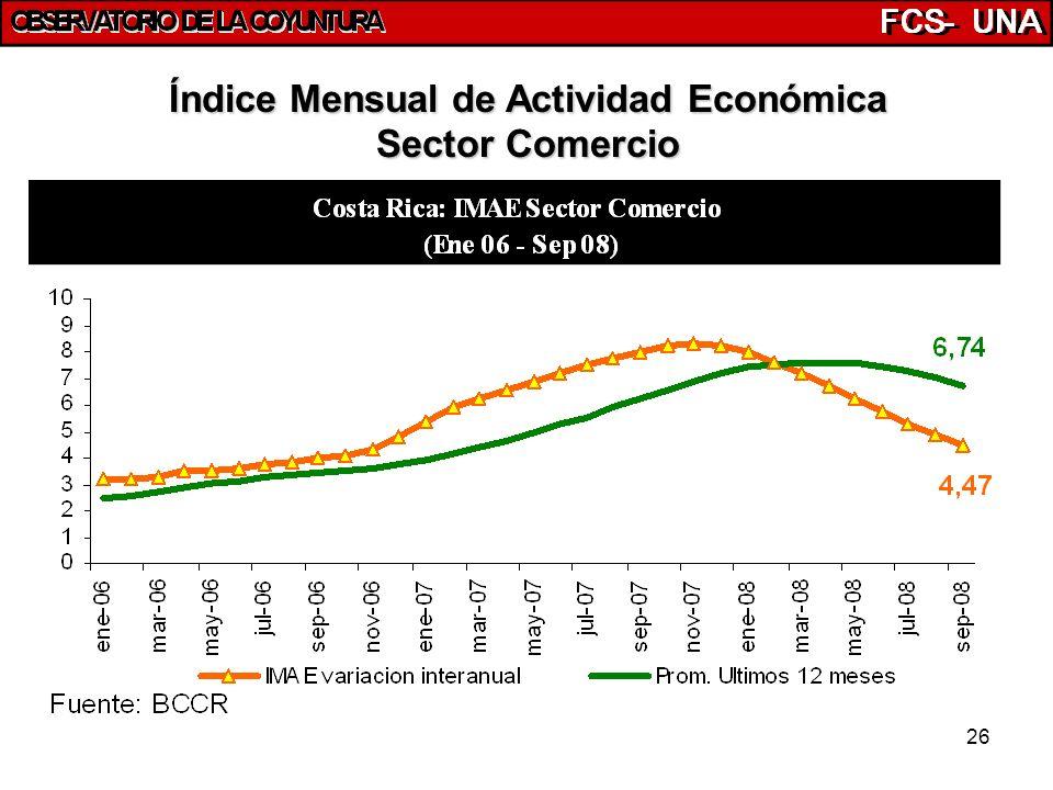 26 Índice Mensual de Actividad Económica Sector Comercio