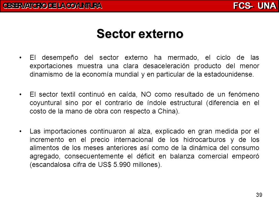 39 Sector externo El desempeño del sector externo ha mermado, el ciclo de las exportaciones muestra una clara desaceleración producto del menor dinami