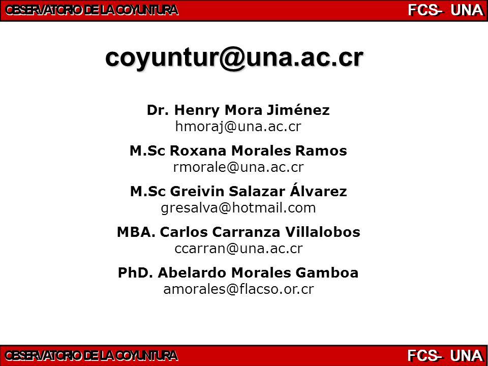 Dr. Henry Mora Jiménez hmoraj@una.ac.cr M.Sc Roxana Morales Ramos rmorale@una.ac.cr M.Sc Greivin Salazar Álvarez gresalva@hotmail.com MBA. Carlos Carr