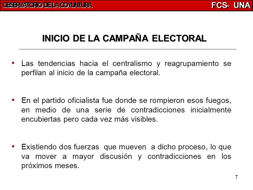 7 INICIO DE LA CAMPAÑA ELECTORAL Las tendencias hacia el centralismo y reagrupamiento se perfilan al inicio de la campaña electoral. En el partido ofi