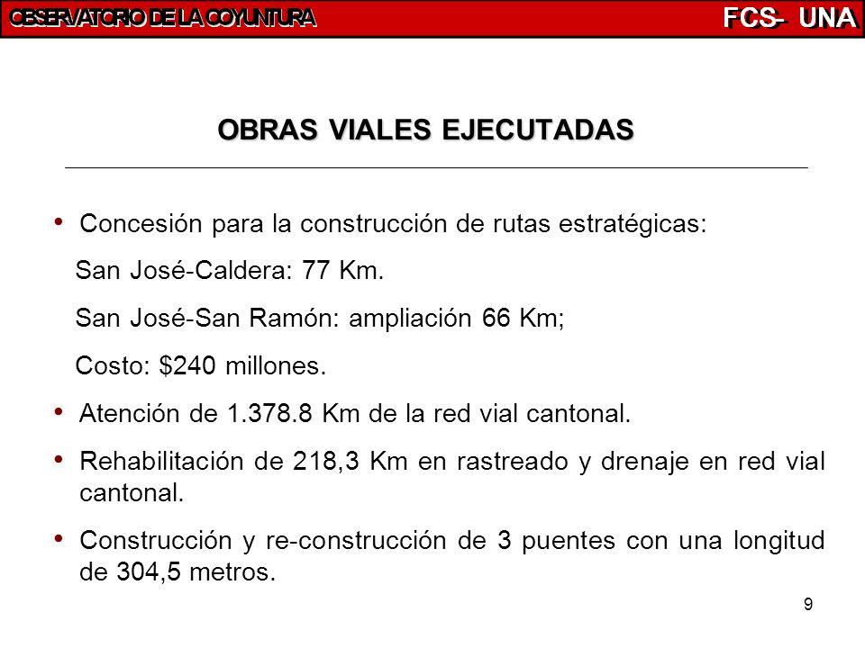 9 OBRAS VIALES EJECUTADAS Concesión para la construcción de rutas estratégicas: San José-Caldera: 77 Km. San José-San Ramón: ampliación 66 Km; Costo: