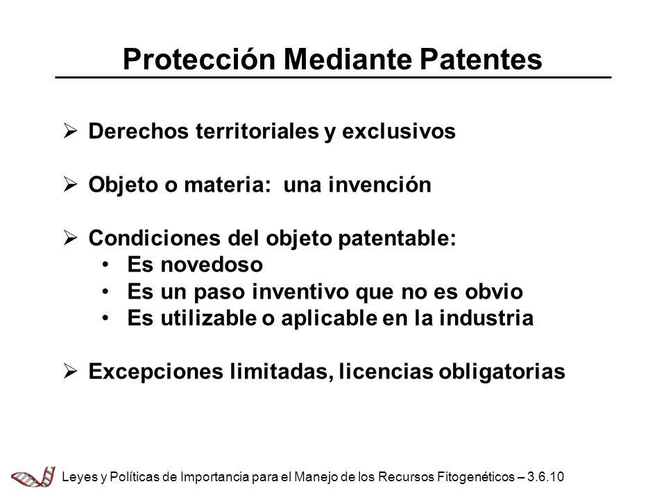 Protección Mediante Patentes Derechos territoriales y exclusivos Objeto o materia: una invención Condiciones del objeto patentable: Es novedoso Es un
