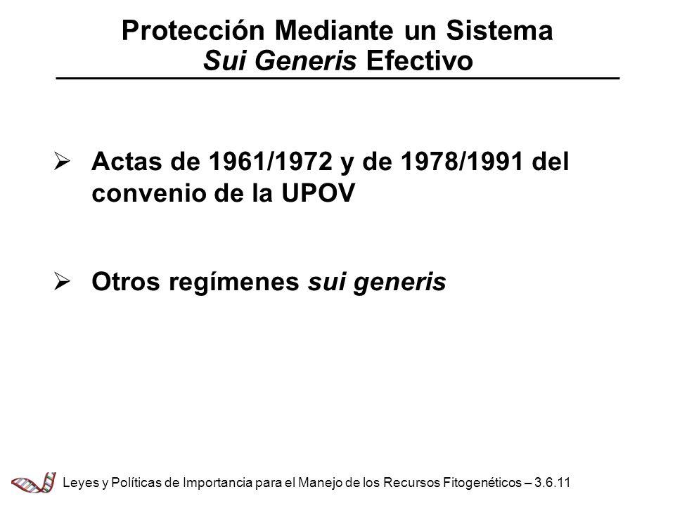 Protección Mediante un Sistema Sui Generis Efectivo Actas de 1961/1972 y de 1978/1991 del convenio de la UPOV Otros regímenes sui generis Leyes y Polí