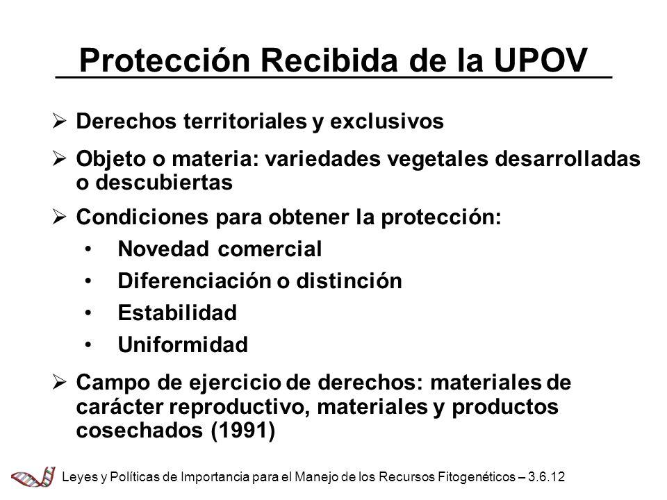 Protección Recibida de la UPOV Derechos territoriales y exclusivos Objeto o materia: variedades vegetales desarrolladas o descubiertas Condiciones par