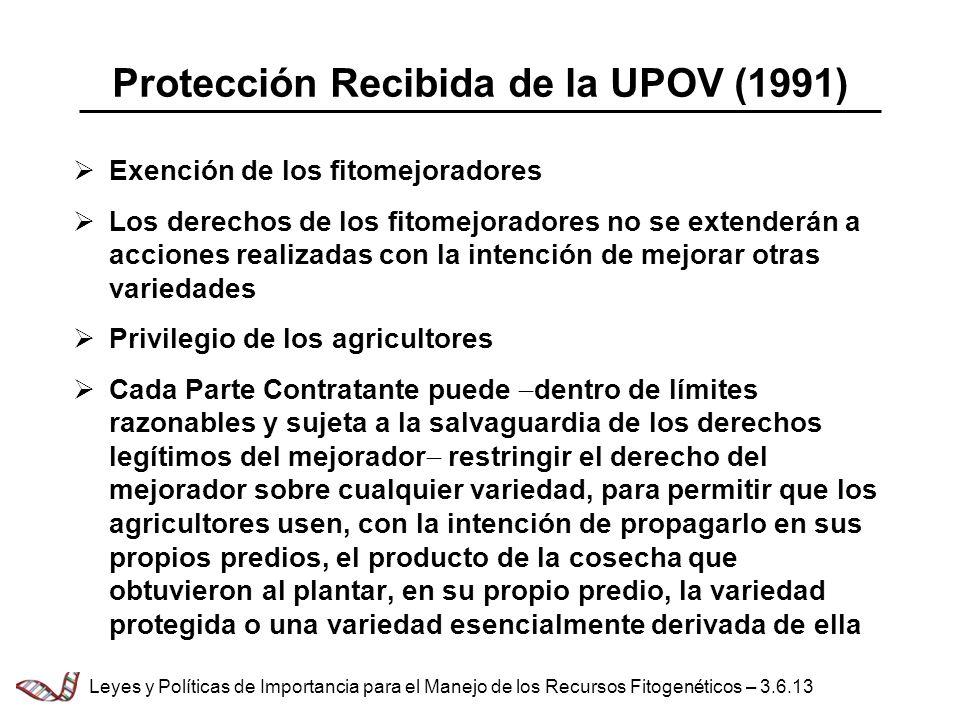 Protección Recibida de la UPOV (1991) Exención de los fitomejoradores Los derechos de los fitomejoradores no se extenderán a acciones realizadas con l