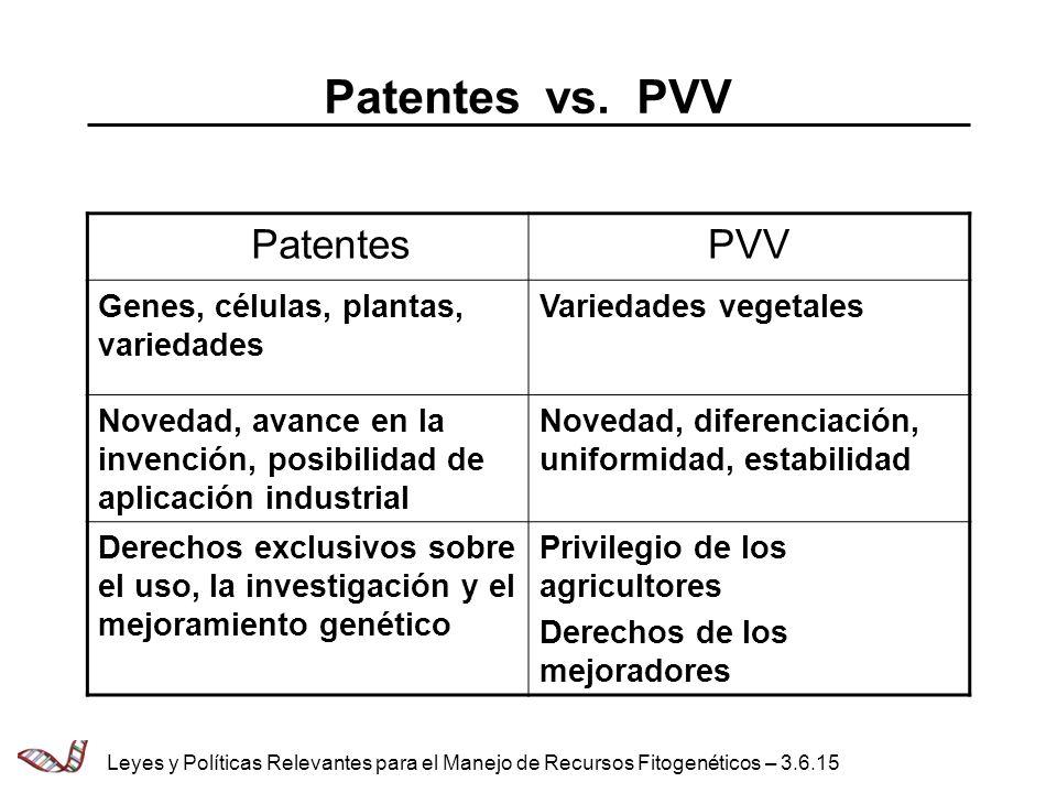 PatentesPVV Genes, células, plantas, variedades Variedades vegetales Novedad, avance en la invención, posibilidad de aplicación industrial Novedad, di