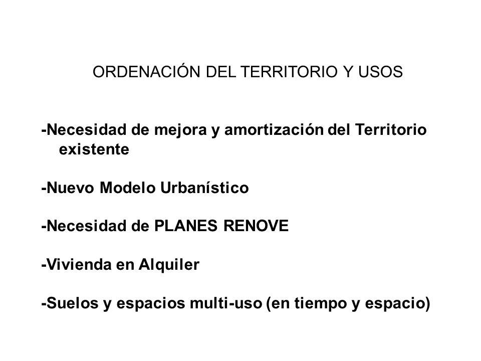 ORDENACIÓN DEL TERRITORIO Y USOS -Necesidad de mejora y amortización del Territorio existente -Nuevo Modelo Urbanístico -Necesidad de PLANES RENOVE -V