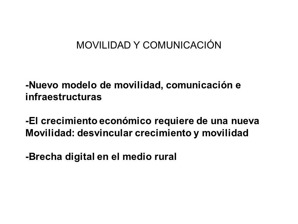 -Nuevo modelo de movilidad, comunicación e infraestructuras -El crecimiento económico requiere de una nueva Movilidad: desvincular crecimiento y movil