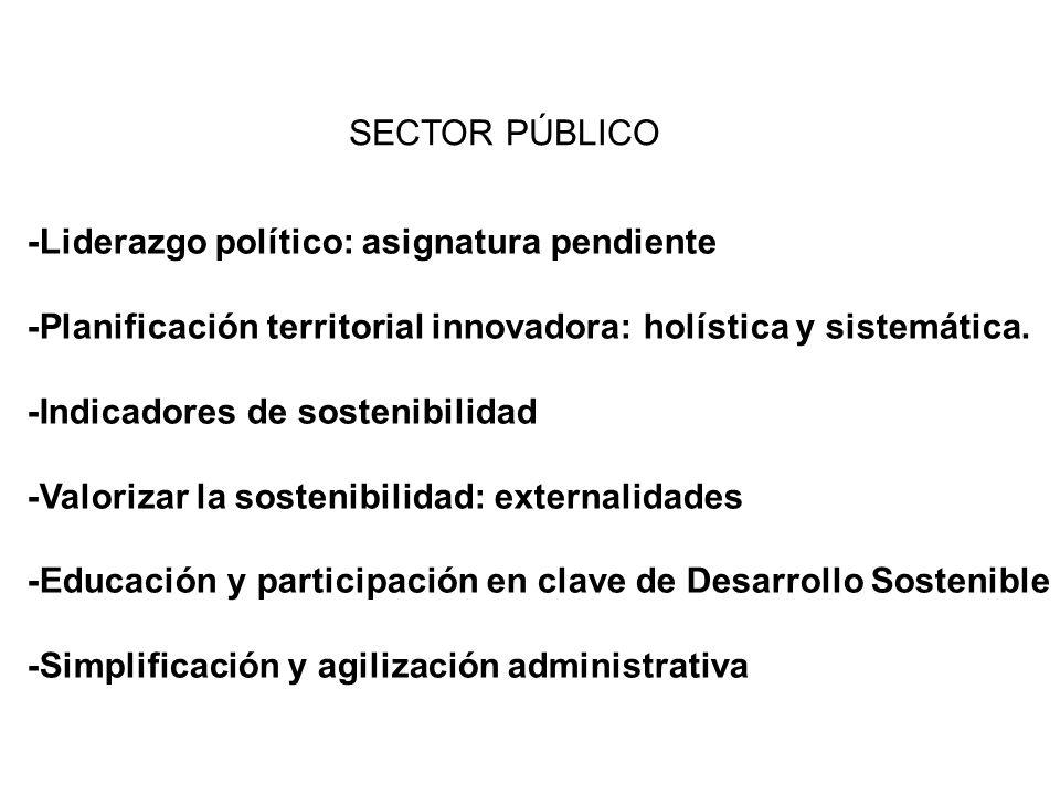 -Liderazgo político: asignatura pendiente -Planificación territorial innovadora: holística y sistemática. -Indicadores de sostenibilidad -Valorizar la