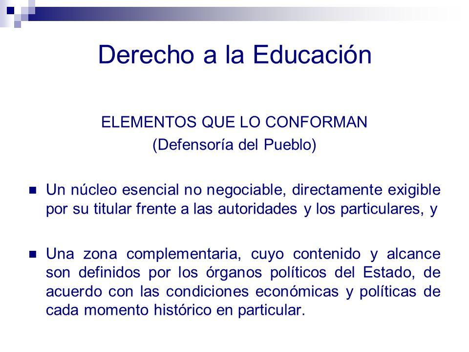 Elementos Básicos del Derecho a la Educación La disponibilidad de la Educación, El acceso a la Educación, La permanencia en el sistema educativo, y La calidad de la educación.