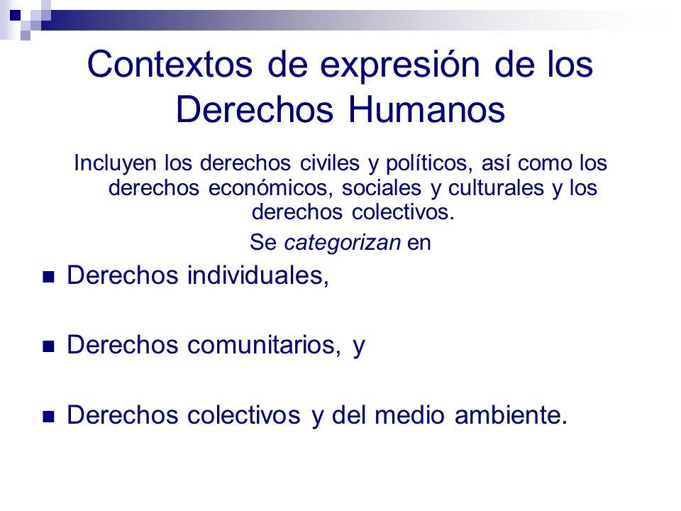 Principios que sustentan los Derechos Humanos Son inherentes a la persona, Son universales, Son inalienables, Son exigibles, Reconocen la diversidad y la especificidad Establecen prioridades Requieren corresponsabilidad entre los individuos, los grupos y el Estado.