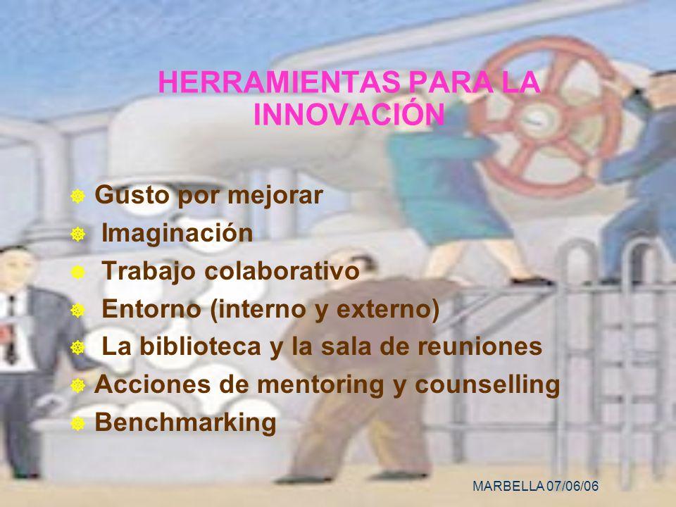 MARBELLA 07/06/06 HERRAMIENTAS PARA LA INNOVACIÓN Gusto por mejorar Imaginación Trabajo colaborativo Entorno (interno y externo) La biblioteca y la sala de reuniones Acciones de mentoring y counselling Benchmarking