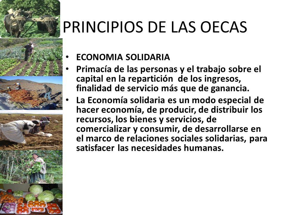 PRINCIPIOS DE LAS OECAS ECONOMIA SOLIDARIA Primacía de las personas y el trabajo sobre el capital en la repartición de los ingresos, finalidad de serv