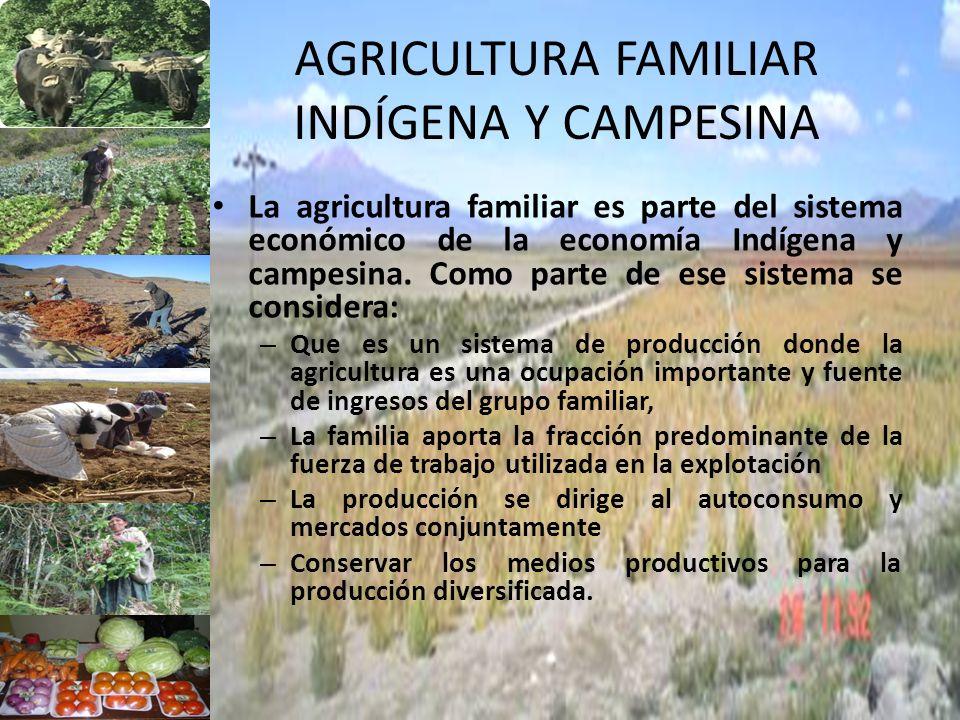 AGRICULTURA FAMILIAR INDÍGENA Y CAMPESINA La agricultura familiar es parte del sistema económico de la economía Indígena y campesina. Como parte de es
