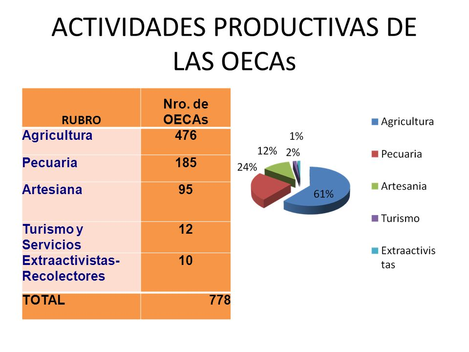 ACTIVIDADES PRODUCTIVAS DE LAS OECAs RUBRO Nro. de OECAs Agricultura476 Pecuaria185 Artesiana95 Turismo y Servicios 12 Extraactivistas- Recolectores 1