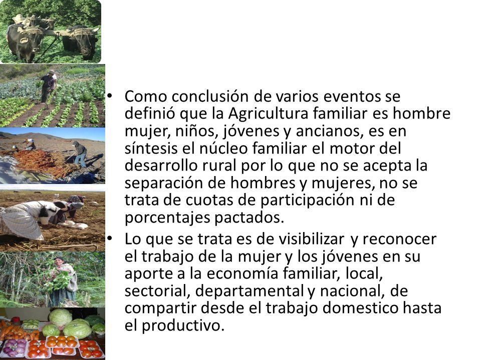 Como conclusión de varios eventos se definió que la Agricultura familiar es hombre mujer, niños, jóvenes y ancianos, es en síntesis el núcleo familiar