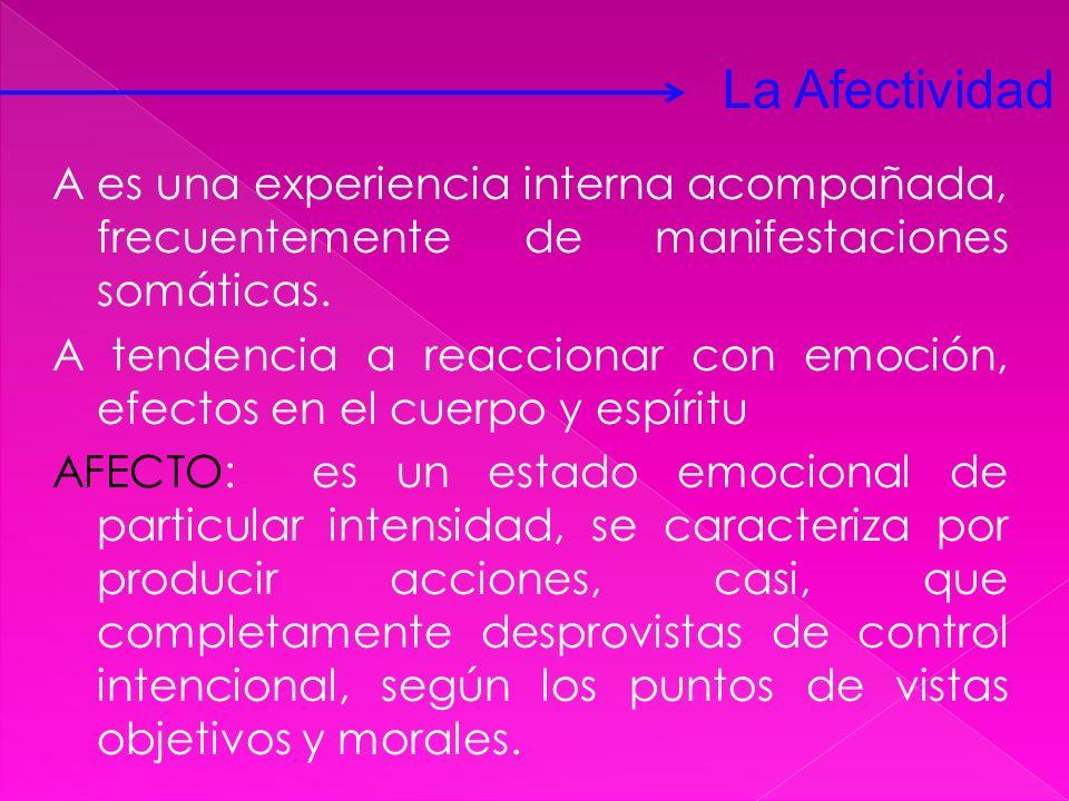 A es una experiencia interna acompañada, frecuentemente de manifestaciones somáticas. A tendencia a reaccionar con emoción, efectos en el cuerpo y esp