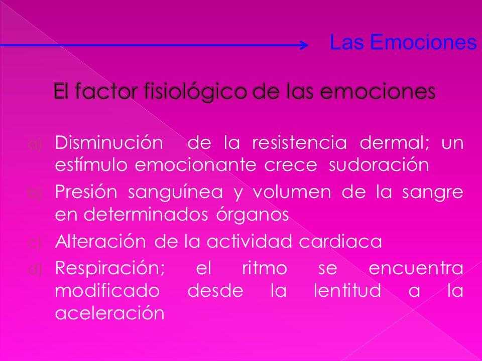 a) Disminución de la resistencia dermal; un estímulo emocionante crece sudoración b) Presión sanguínea y volumen de la sangre en determinados órganos