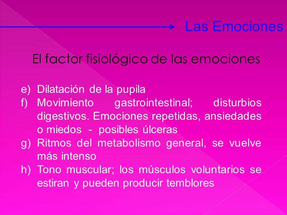 e)Dilatación de la pupila f)Movimiento gastrointestinal; disturbios digestivos. Emociones repetidas, ansiedades o miedos - posibles úlceras g)Ritmos d