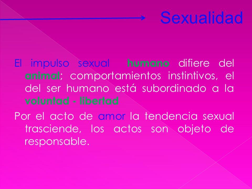 El impulso sexual humano difiere del animal ; comportamientos instintivos, el del ser humano está subordinado a la voluntad - libertad Por el acto de