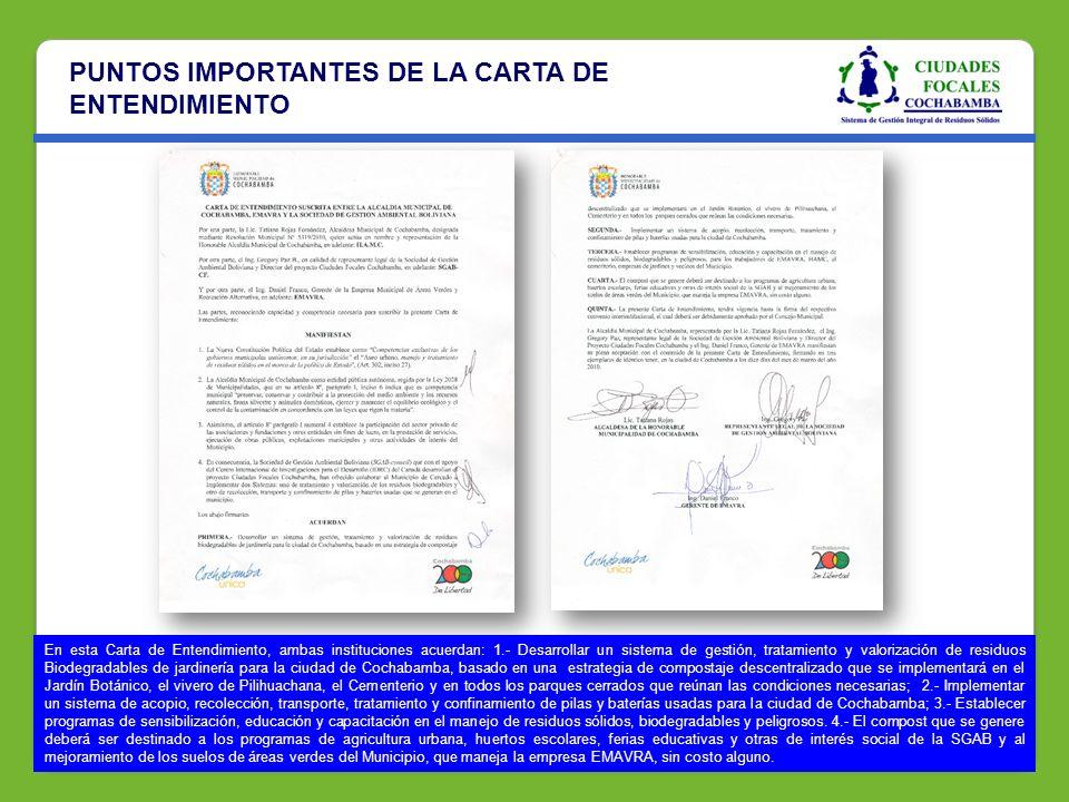 PUNTOS IMPORTANTES DE LA CARTA DE ENTENDIMIENTO En esta Carta de Entendimiento, ambas instituciones acuerdan: 1.- Desarrollar un sistema de gestión, t