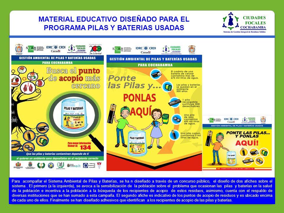 MATERIAL EDUCATIVO DISEÑADO PARA EL PROGRAMA PILAS Y BATERIAS USADAS Para acompañar el Sistema Ambiental de Pilas y Baterías, se ha n diseñado a travé