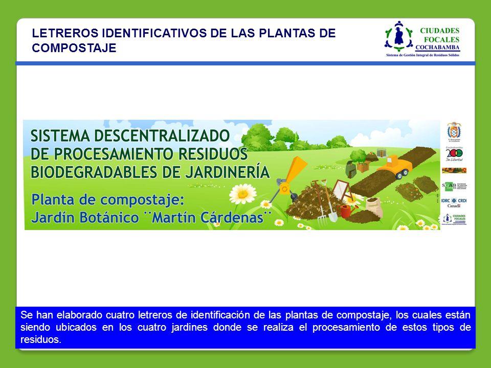 LETREROS IDENTIFICATIVOS DE LAS PLANTAS DE COMPOSTAJE Se han elaborado cuatro letreros de identificación de las plantas de compostaje, los cuales está