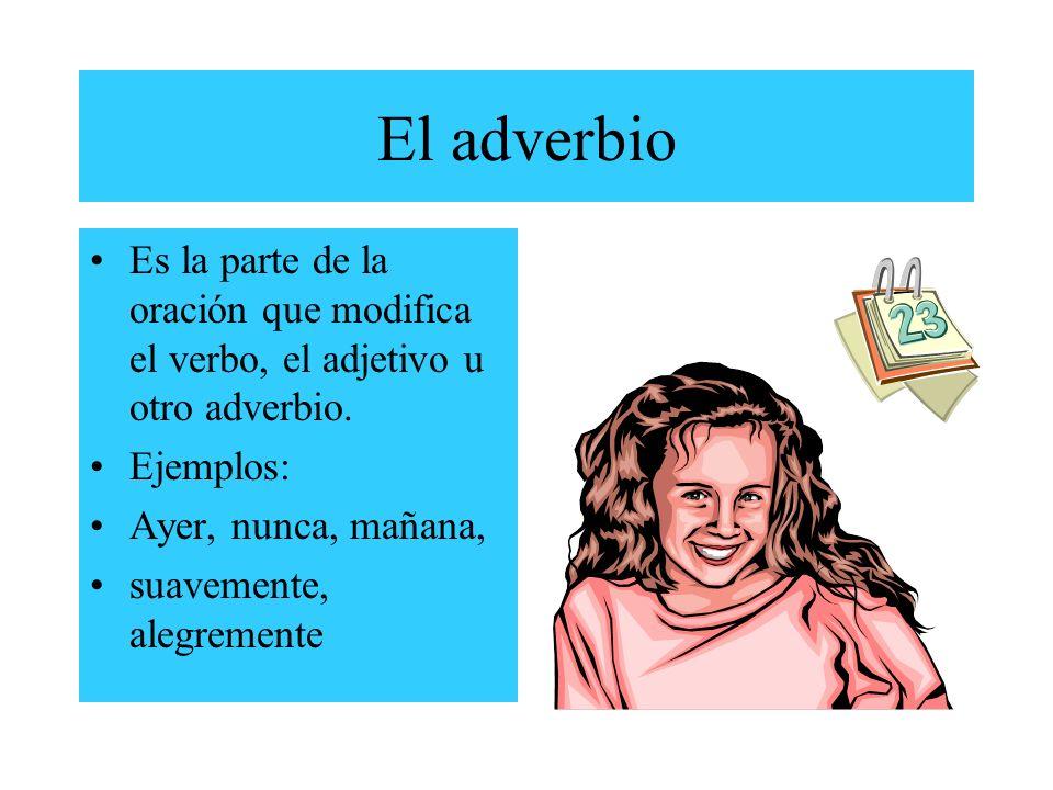El adverbio Es la parte de la oración que modifica el verbo, el adjetivo u otro adverbio.