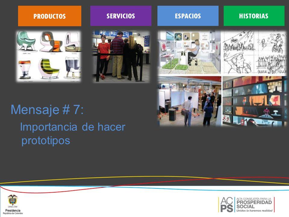 Mensaje # 7: Importancia de hacer prototipos PRODUCTOS HISTORIASESPACIOSSERVICIOS