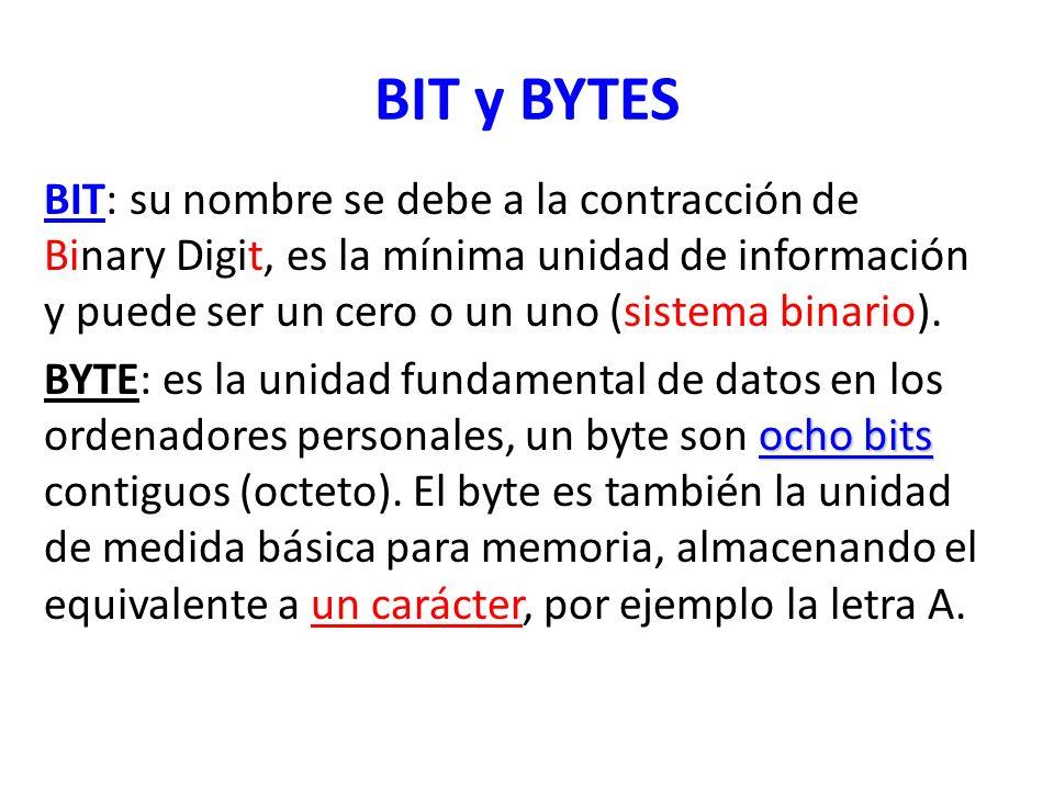 BIT y BYTES BIT: su nombre se debe a la contracción de Binary Digit, es la mínima unidad de información y puede ser un cero o un uno (sistema binario)