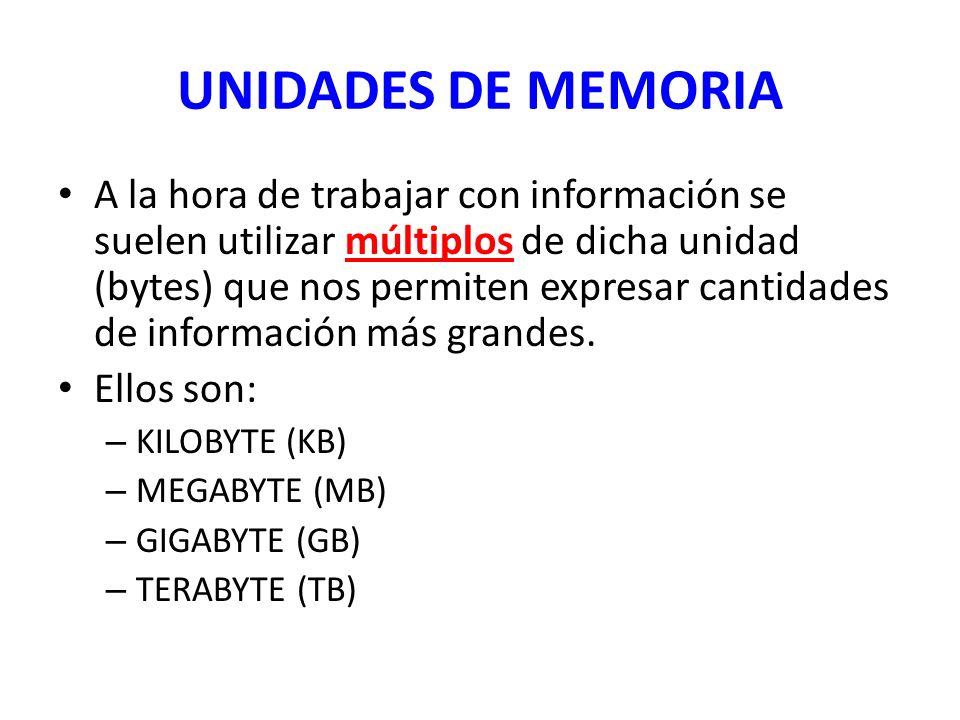 UNIDADES DE MEMORIA A la hora de trabajar con información se suelen utilizar múltiplos de dicha unidad (bytes) que nos permiten expresar cantidades de
