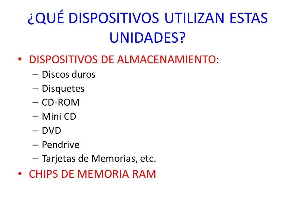 ¿QUÉ DISPOSITIVOS UTILIZAN ESTAS UNIDADES? DISPOSITIVOS DE ALMACENAMIENTO: – Discos duros – Disquetes – CD-ROM – Mini CD – DVD – Pendrive – Tarjetas d