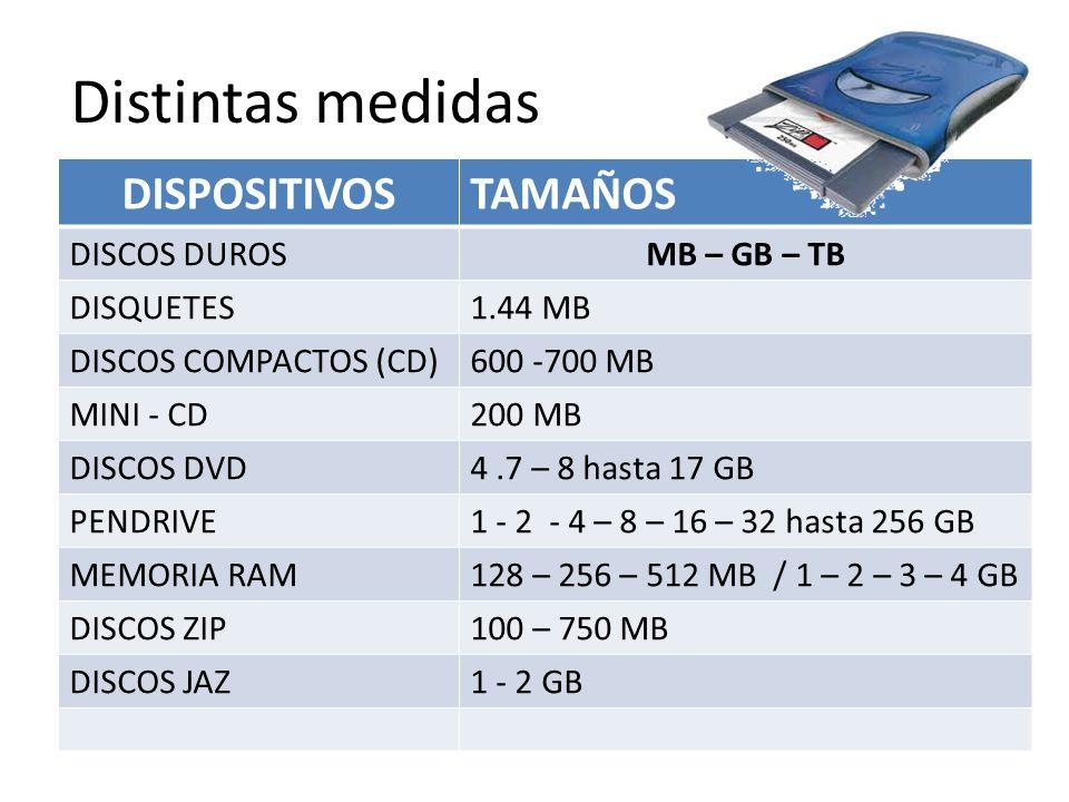 Distintas medidas DISPOSITIVOSTAMAÑOS DISCOS DUROSMB – GB – TB DISQUETES1.44 MB DISCOS COMPACTOS (CD)600 -700 MB MINI - CD200 MB DISCOS DVD4.7 – 8 has