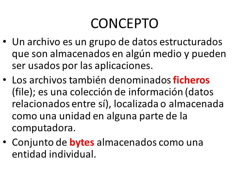 CONCEPTO Un archivo es un grupo de datos estructurados que son almacenados en algún medio y pueden ser usados por las aplicaciones. Los archivos tambi