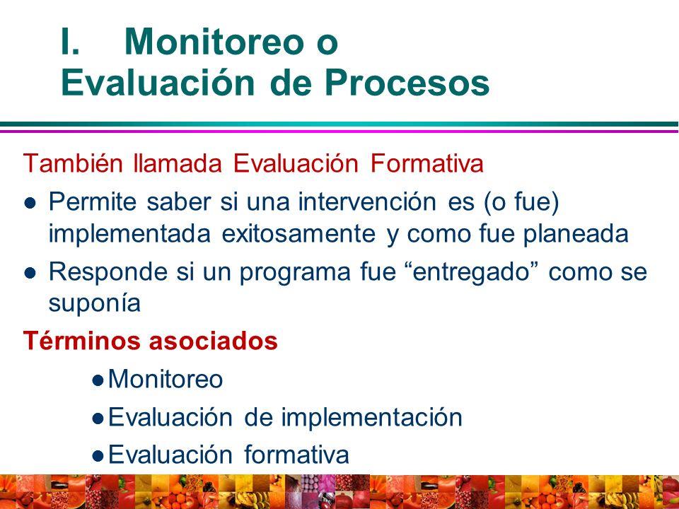 También llamada Evaluación Formativa Permite saber si una intervención es (o fue) implementada exitosamente y como fue planeada Responde si un program