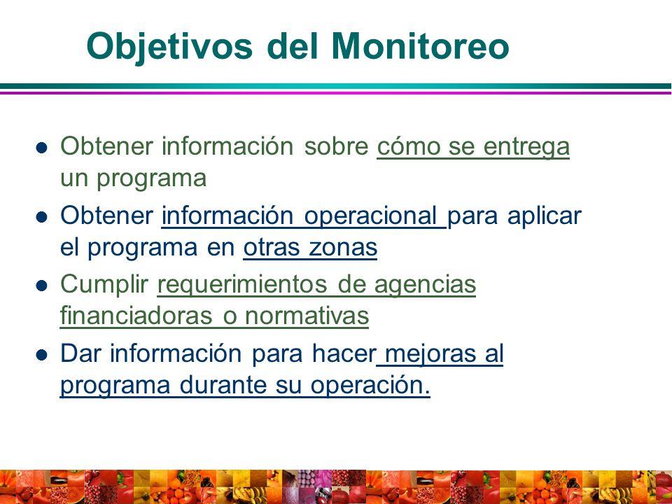 Objetivos del Monitoreo Obtener información sobre cómo se entrega un programa Obtener información operacional para aplicar el programa en otras zonas