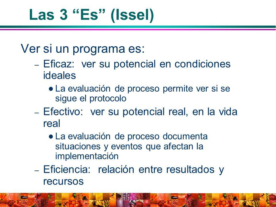 Las 3 Es (Issel) Ver si un programa es: – Eficaz: ver su potencial en condiciones ideales La evaluación de proceso permite ver si se sigue el protocol