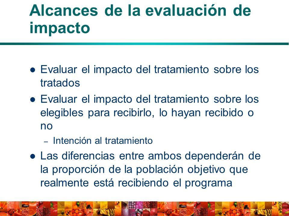 Alcances de la evaluación de impacto Evaluar el impacto del tratamiento sobre los tratados Evaluar el impacto del tratamiento sobre los elegibles para