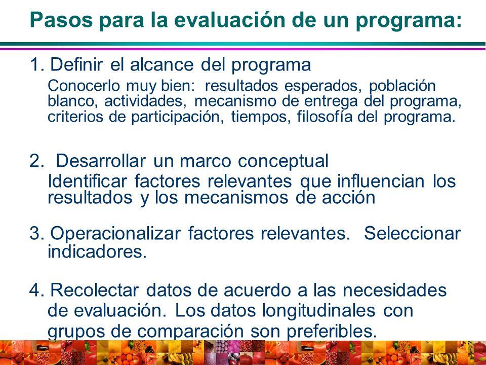 Pasos para la evaluación de un programa: 1. Definir el alcance del programa Conocerlo muy bien: resultados esperados, población blanco, actividades, m