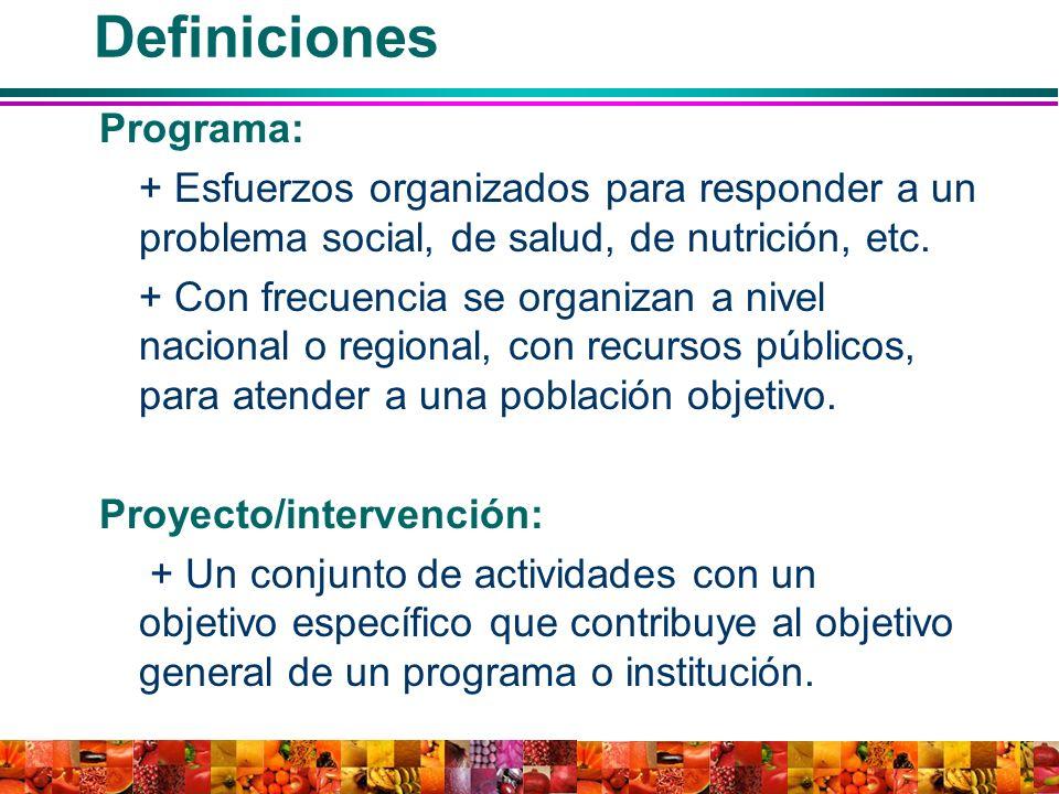 Definiciones Programa: + Esfuerzos organizados para responder a un problema social, de salud, de nutrición, etc. + Con frecuencia se organizan a nivel